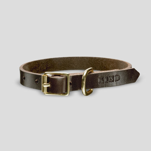 Sulo puppy collar, dark brown without lining