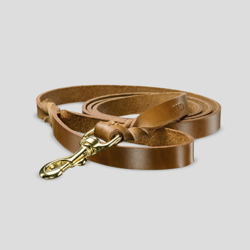 Uljas leather leash, cognac brown