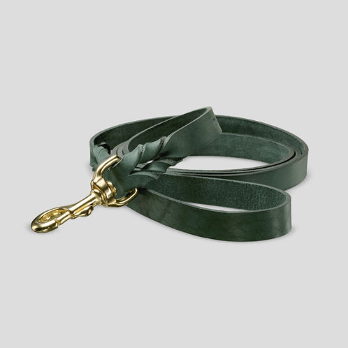 Uljas leather leash, deep dark green